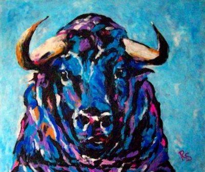 Plastilinmalerei Blauer Stier Im Blauen Land