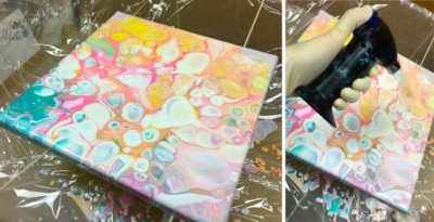 Pouring Art - Mit Hitze noch mehr Zellen