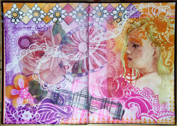 Mixed Media Journaling Doppelseite Summer Girl